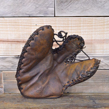 Vintage Baseball Glove, Leather Baseball Glove, Leather Wilson Baseball Glove
