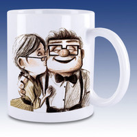 Best Carl and Ellie Disney Pixar UP Custom White Mug Ceramic Coffee Tea Cup