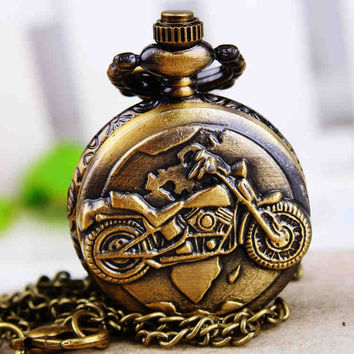 1PC Antique Bronze Pocket Watch Necklace Chain Pendant Long !ONS = 4482759812
