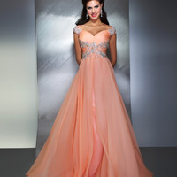 SALE! Mac Duggal 2013 Prom Dresses - Peach Gown with Silver Embellishments - Unique Vintage - Prom dresses, retro dresses, retro swimsuits.