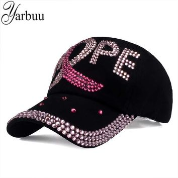 Trendy Winter Jacket [YARBUU] brand new fashion high quality baseball caps for women Cotton Rhinestone Hat snapback cap with letter HOPE  AT_92_12