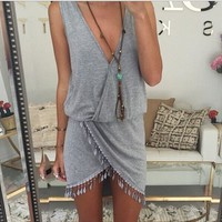 Europe and America Style Summer Women Solid Color Sexy V-neck Tassel Irregular Sleeveless Tank Dress Plus Size S-XL Sale