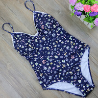 Print Bandage One Piece Swimsuit Sets  Floral Swimwear Women Lace Bodysuit