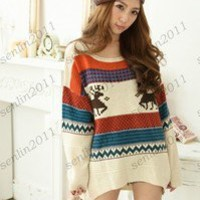 fashion printing Lady Sweater Round Neck Short before long after Knit Pullover #