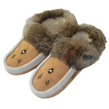 Women's Soft-Sole Sheepskin Moccasins With Rabbit Fur