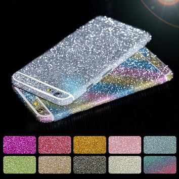 Fashion 8 Colors Glitter Protective Sticker Bling Front and Back Screen Protector Full Body Case Cover for iPhone 6 6S Plus