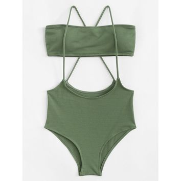 Cross Back Two Piece Swimwear