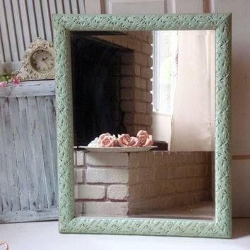 Large Green Mirror, Mint Green Ornate Mirror, Shabby Chic, Cottage Chic Big Mirror, Home Decor