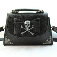 Skull and Crossbones Filigree Bow Mini Handbag/Clutch