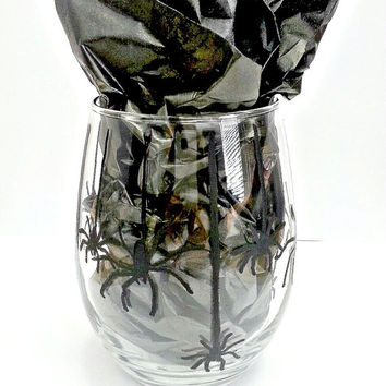 Spiders Galore Stemless Wine Glass Tumbler/Halloween Stemless Wine Glass Tumbler/Halloween Wine Glass/Holiday Wine Glass Tumbler