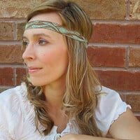 Boho Ribbon Headband, Peacock feather print, brown and mint, head band with elastic back
