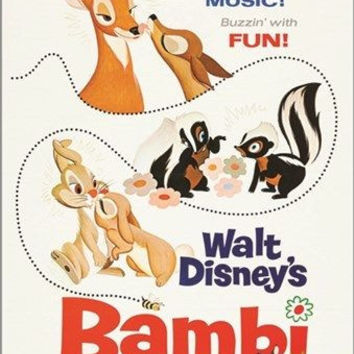 walt disney's BAMBI vintage MOVIE POSTER rabbits skunks KID FRIENDLY 24X36