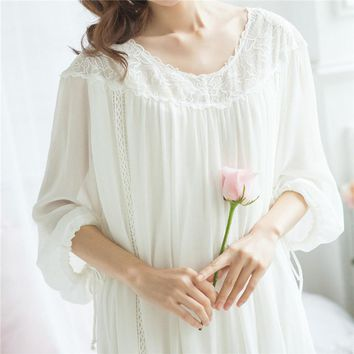 Nightgowns Sleepshirts Lace Sleepwear Romantic Sleep & lounge Chiffon Sleep Wear Nightwear Home Dress Sexy Nightdress