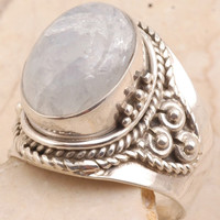Rainbow Moon Stone Men's Ring
