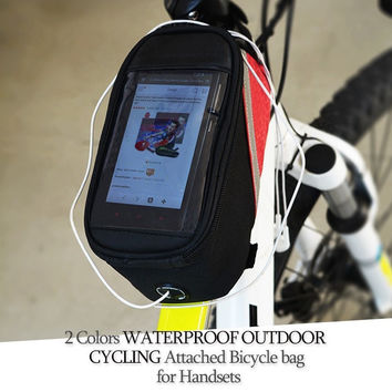 Cycling Bike Bicycle Phone Container Cases Frame Front Pouch Bag for Sumsung Galaxy Iphone 4/5/6 Mobile Cell Phones