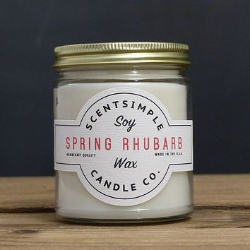 Spring Rhubarb Scented Soy Wax Candle