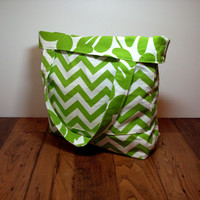 Summer Tote Bag - Extra Large Bag - Reversible Beach Bag - Green White - Floral Chevron - Summer Beach Bag - Big Tote Bag - Made To Order