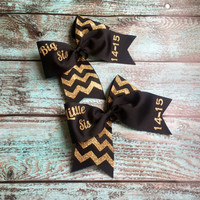 Big Sis, Little Sis, Sorority Sister Gifts, Matching Sorority Gifts, Monogrammed Gifts, Chevron, Cheer Bow, Custom Sorority Bows