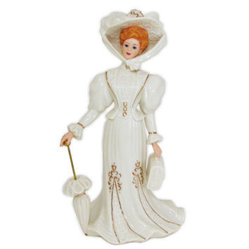 Lenox Grand Voyage Victorian Ladies of Fashion Collection Parasol Lady Figurine Retired Ivory Gold 1994