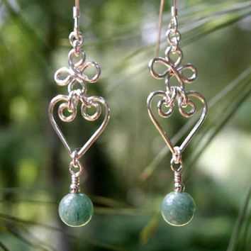 Silver Chandelier Earrings | Burma Jade Green Chandelier Earrings