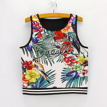 Bralette Hot Beach Comfortable Summer Stylish Alphabet Print Tops Sexy Crop Top Vest [6048784641]