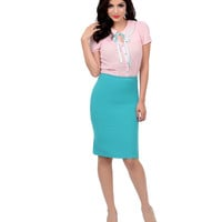 1950s Style Teal Green High Waisted Pleated Pencil Skirt