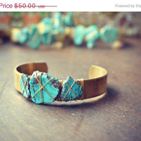 ON SALE LUX Three Stone Stacking Brass Bracelet Bohemian Arizona Turquoise Gemstone Cuff