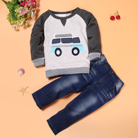 Toddler Boys Outfit Clothes Car Print Tee shirt Tops+Long Jeans Trousers children clothing CT1688
