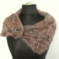REGULAR PRICE Gray Chunky Short Scarf Cabled Brown Dark Gray Infinity Toggles