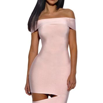 Chicloth Peach Off The Shoulder Cut Out Bandage Dress