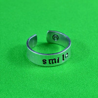 Smile Ring - Hand Stamped Aluminum Ring,  Adjustable Skinny Ring, Be Happy Everyday