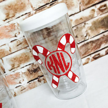 Personalized Glitter Christmas Tumbler / Candy Cane/ Antler Monogram / Santa Hat / Snow Flake / Holiday Teacher Tote / Holly Monogram