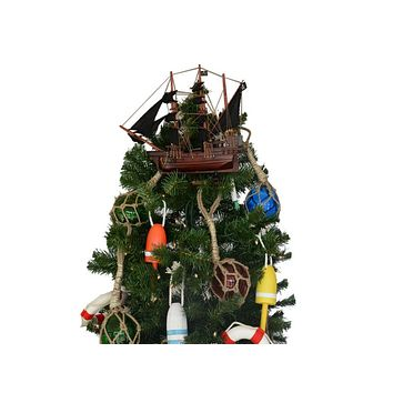 Wooden Calico Jack's The William Model Pirate Ship Christmas Tree Topper Decoration