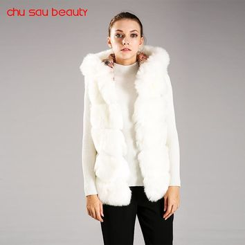 CHUSAUBEAUTY 2017 Women's Vest Hooded Cap Fur  Fashion Luxury Thick Warm Vest Faux Fox Hair Down Coat Jacket Solid Color C3521
