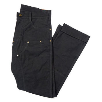 GN.01 WAXED CANVAS FITTED WORK PANT - BLACK