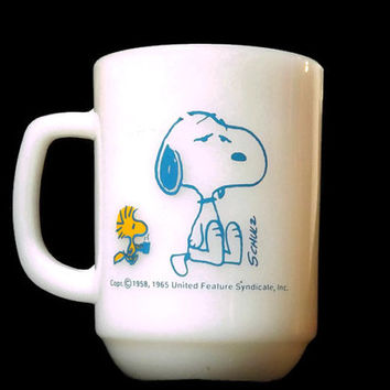 Snoopy and Woodstock Anchor Hocking Novelty Coffee Cup Mug Fire King