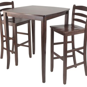 3pc Inglewood High/Pub Dining Table with Ladder Back Stool by Winsome Woods