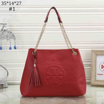 Tory Burch 2018 new classic embossed logo simple fashion chain shoulder bag #1