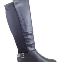 Black Boot with Stretchy Elastic Fabric