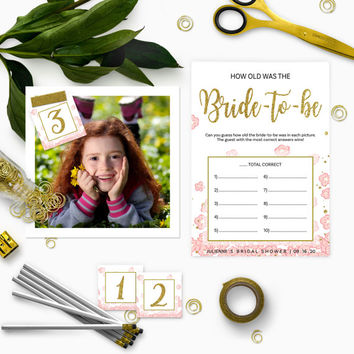 Pink and Gold How Old was the Bride-to-Be Bridal Shower Game-DIY Golden Glitter Floral Printable How Old Was the Bride Cards and Sign