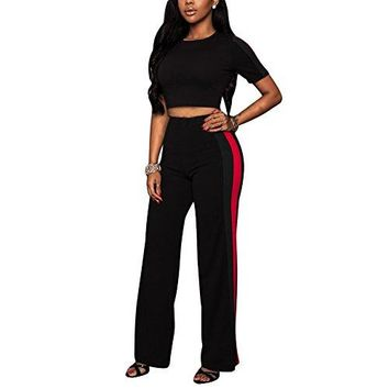 Joseph Costume Women's Casual Two Piece Outfit Set Crop Top Wide Leg Long Pants Jumpsuit Plus Size