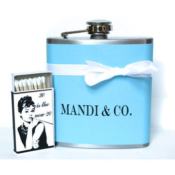 30th Birthday Gift Set / Tiffany Blue Flask / Audrey Hepburn / Breakfast at Tiffanys Theme Party Favors