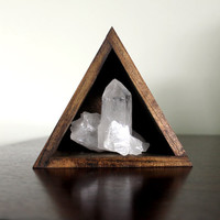 handmade wood triangle shelf with quartz point cluster