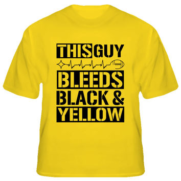 Youth This Guy Bleeds Black and Yellow Steelers T-Shirt