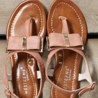 Toes And Bows Flat Camel Thong Bow Sandals