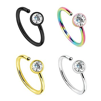 BodyJ4You Nose Ring Hoop 20G CZ Set Stainless Steel 4 Pieces Body Jewelry Piercing