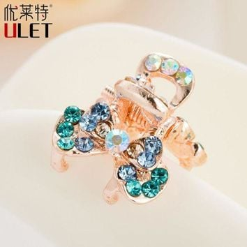 DCCKLW8 Mini Cute Crab For Hair Trendy Flower Butterfly ULET Hair Clip Rhinestone Claws Imitation Crystal Simulated Decorated  Metal
