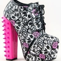 Red Kiss MONA Spike Chunky High Heel Skull Print Lace Up Ankle Boot Bootie