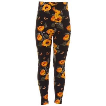 Kid's Colorful Sunflower Butterfly Pattern Printed Leggings