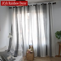 Gray Linen Sheer Tulle Curtains For Living Room Stripe Modern Curtains For Bedroom Window Voile Curtains Fabrics Blinds Drapes